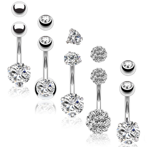BodyJ4You 5PC Belly Button Rings 14G Stainless Steel CZ Girl Women Navel 5 Replacement Balls Pack - BodyJ4you