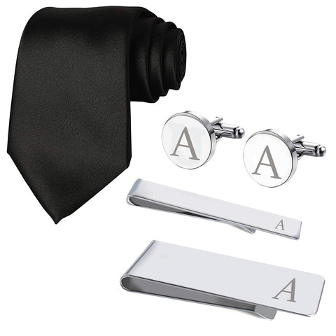 BodyJ4You 5PC Cufflinks Tie Bar Money Clip Button Shirt Personalized Initials Alphabet A-Z Gift Set - BodyJ4you