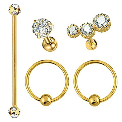 BodyJ4You 5PCS Tragus Stud Helix Earring Set Gold 16G-14G Nose Hoop Piercing Industrial Barbell Kit - BodyJ4you