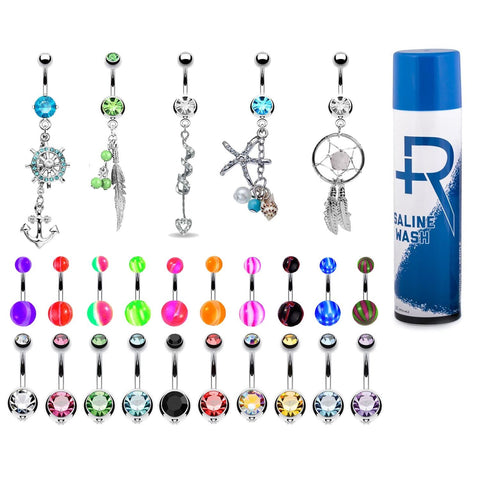 BodyJ4You 65 Belly Button Rings Dangle Bars Aftercare Saline Spray 14G CZ Navel Body Jewelry - BodyJ4you