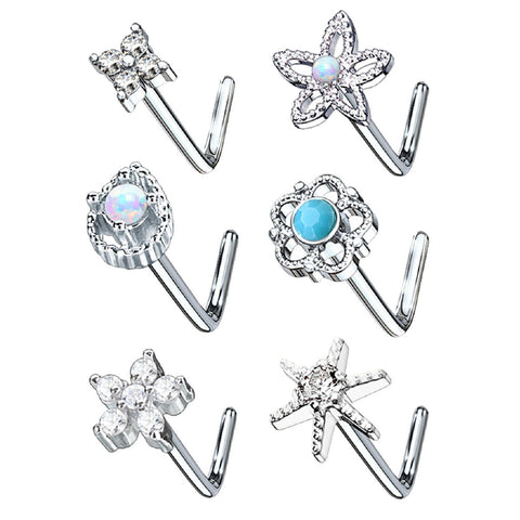 BodyJ4You 6PC Nose Ring 20G Stainless Steel Silvertone Flower Crystal Studs L-Shape Body Piercing Jewelry - BodyJ4you