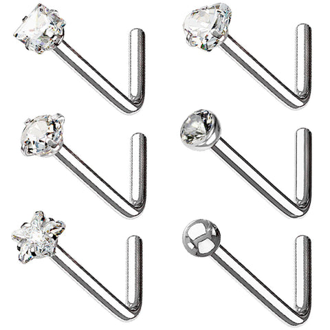 BodyJ4You 6PC Nose Rings 20G Stainless Steel Silvertone Small Crystal Studs L-Shape Body Piercing Jewelry - BodyJ4you