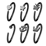 BodyJ4You 6PCS 20G (8mm) Nose Hoop Ring Surgical Steel Silvertone Unisex Body Jewelry Piercing Value Pack - BodyJ4you