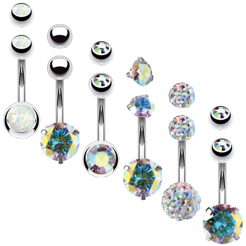 BodyJ4You 6PCS Belly Button Rings 6 Replacement Balls 14G Stainless Steel Aurora CZ Navel Jewelry - BodyJ4you