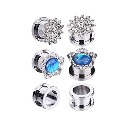 BodyJ4You 6PCS Screw Fit Ear Plugs Surgical Steel Created-Opal Stretch Flower Gauges Set 00G - BodyJ4you