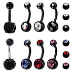 BodyJ4You 8PC Belly Button Rings 14G CZ Crystal Black Stainless Steel Navel Piercing Jewelry Set - BodyJ4you
