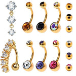 BodyJ4You 8PC Belly Button Rings 14G CZ Crystal Reverse Dangle Stainless Steel Navel Piercing Jewelry Set - BodyJ4you