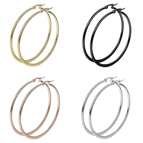 BodyJ4You 8PC Big Hoop Earrings Set Girls Women Steel Rose Goldtone Black Fashion Jewelry - BodyJ4you