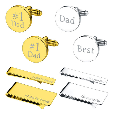 BodyJ4You 8PC Cufflinks Tie Bar Money Clip Button Shirt Father Day Love #1 Dad Gift Box - BodyJ4you