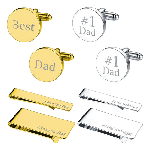BodyJ4You 8PC Cufflinks Tie Bar Money Clip Button Shirt Father Day Love Best Dad Gift Box - BodyJ4you