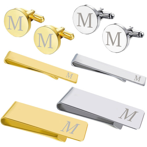 BodyJ4You 8PC Cufflinks Tie Bar Money Clip Button Shirt Personalized Initials Alphabet A-Z Gift Set - BodyJ4you