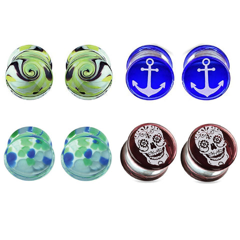 BodyJ4You 8PCS 00G Glass Saddle Plugs Nautical Double Flared Ear Gauges Set (10mm) - BodyJ4you