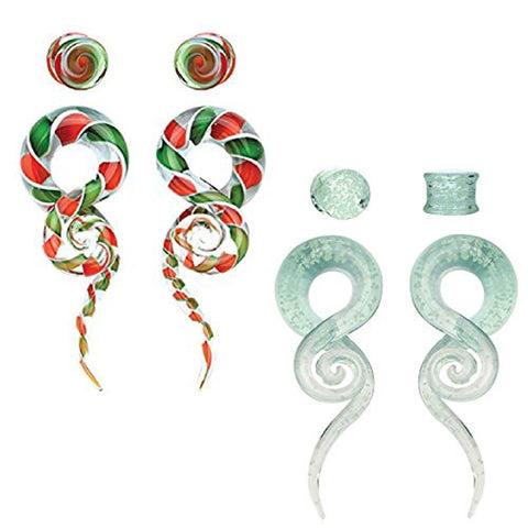 BodyJ4You 8PCS 4G Glass Tapers Glow in Dark and Candy Swirl Tapers and Plugs Set Ear Gauge Hangers (5mm) - BodyJ4you