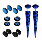BodyJ4You 8PCS Fake Ear Gauge Tapers and Plug Screw Stud Earring Zebra Set Blue Illusion Cheater Jewelry - BodyJ4you