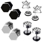 BodyJ4You 8PCS Fake Gauge Plugs and Earrings Set Stainless Steel Stud Illusion Cheater Faux Jewelry - BodyJ4you