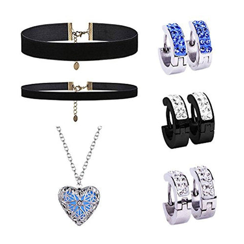 BodyJ4You 9PCS Jewelry Set Necklace CZ Earrings Stud Huggie Hoop Black Choker Velvet Pendant Charm - BodyJ4you