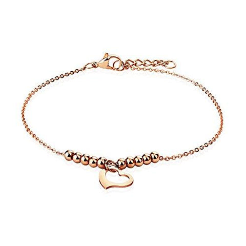 BodyJ4You Anklet Bracelet Beads Balls Heart Rose Goldtone Stainless Steel Body Fashion Jewelry - BodyJ4you
