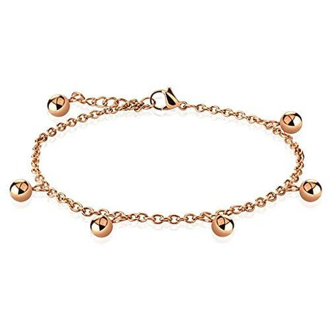 BodyJ4You Anklet Bracelet Beads Balls Rose Goldtone Stainless Steel Body Fashion Jewelry - BodyJ4you