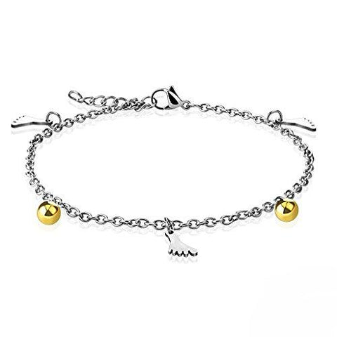BodyJ4You Anklet Bracelet Foot Gold Ball Charm Dangle Steel Body Fashion Jewelry - BodyJ4you