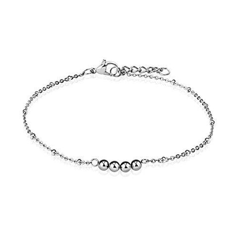 BodyJ4You Anklet Bracelet Four Beads Balls Stainless Steel Body Fashion Jewelry - BodyJ4you
