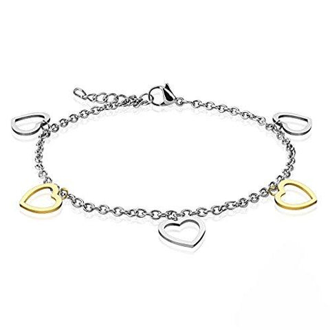 BodyJ4You Anklet Bracelet Heart DangleGoldtone Silver Stainless Steel Body Fashion Jewelry - BodyJ4you