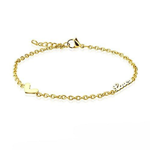 BodyJ4You Anklet Bracelet Love Heart Dangle Goldtone Stainless Steel Body Fashion Jewelry - BodyJ4you