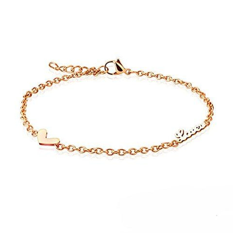 BodyJ4You Anklet Bracelet Love Heart Dangle Rose Goldtone Stainless Steel Body Fashion Jewelry - BodyJ4you