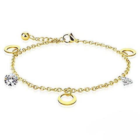 BodyJ4You Anklet Bracelet Round CZ Ring Goldtone Stainless Steel Body Fashion Jewelry - BodyJ4you