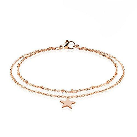 BodyJ4You Anklet Bracelet Star Double Chain Rose Goldtone Stainless Steel Body Fashion Jewelry - BodyJ4you