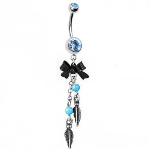 BodyJ4You Belly Button Ring Feathers Tribal Dangle with Bow Aqua Gem - BodyJ4you
