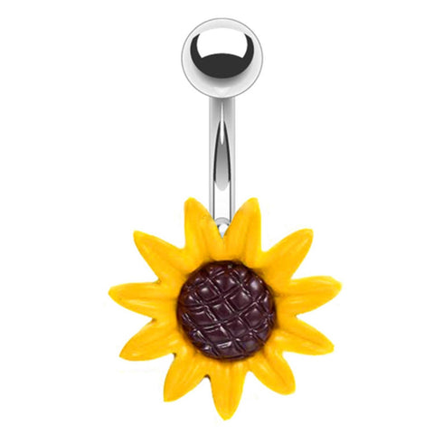 BodyJ4You Belly Button Ring Flower Paved CZ Crystal 14G Navel Banana Steel Curved Bar Body Piercing - BodyJ4you