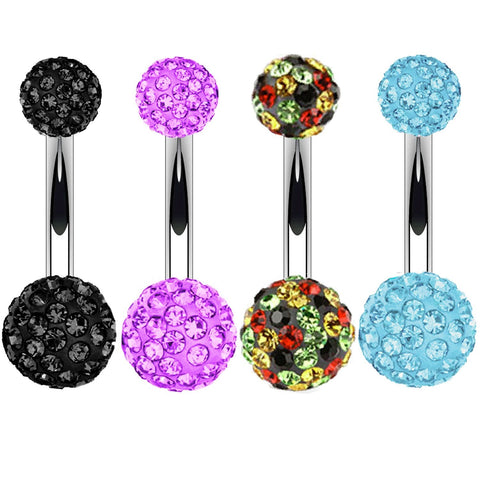 BodyJ4You Belly Button Ring Set Disco Ball CZ Crystals 14G Navel Banana Barbell Steel Body Jewelry - BodyJ4you