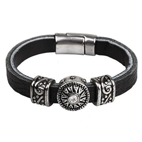 BodyJ4You Black Leather Mens Bracelet Stainless Steel Charm and Clasp - BodyJ4you