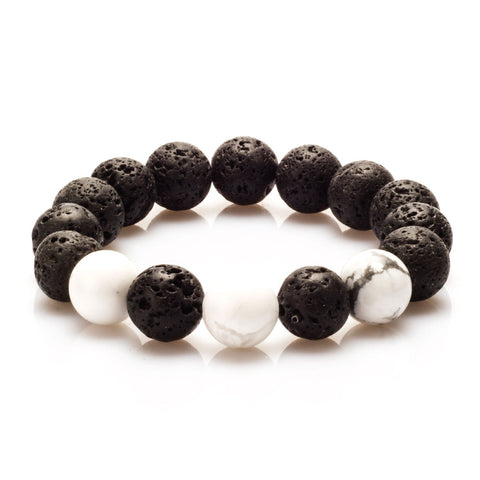 BodyJ4You Bracelet Black Lava Energy Stone Skull Charm Stretch Fashion Accessories Jewelry - BodyJ4you