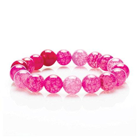 BodyJ4You Bracelet Gemstone Healing Natural Stone Pink Agate Beads - BodyJ4you