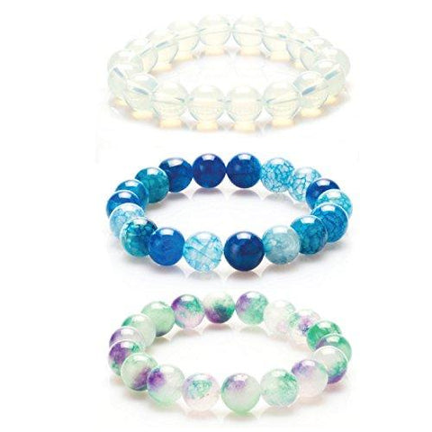 BodyJ4You Bracelet Gemstone Natural Stone Quartz Amegreen Agate Beads 3PCS - BodyJ4you