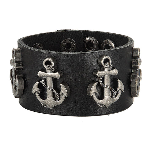 BodyJ4You Bracelet Genuine Leather Bangle Cord Anchor Nautical Black Wide - BodyJ4you