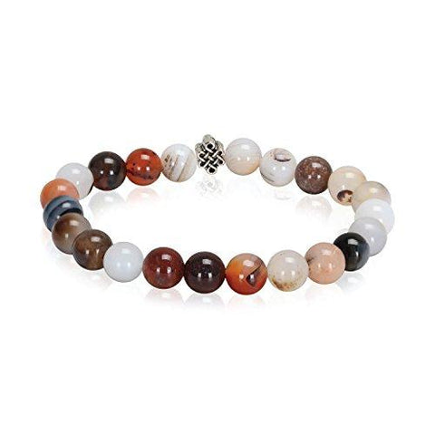 BodyJ4You Bracelet Healing Natural Stone Agenta Beaded Stretch Fashion Jewelry - BodyJ4you