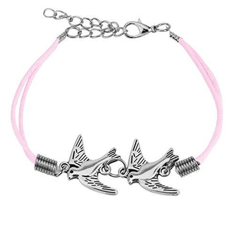 BodyJ4You Bracelet Leather Cuff Two Dove Pink Rope Wrap - BodyJ4you