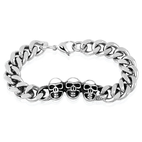 BodyJ4You Bracelet Men's Heavy Stainless Steel Link Wrist 3 Skulls Gothic - BodyJ4you