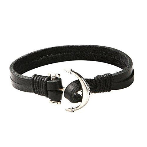 BodyJ4You Bracelet Men's Leather Bangle Cord Black Anchor Nautical - BodyJ4you