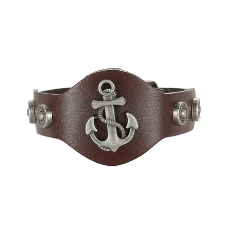 BodyJ4You Bracelet Men's Leather Bangle Cord Brown Anchor Nautical Biker - BodyJ4you