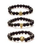 BodyJ4You Bracelet Set Black Lava Energy Stone Bead Lion Skull Gladiator Fashion Jewelry 3 Pieces - BodyJ4you