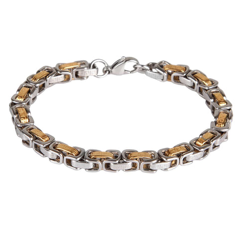 "BodyJ4You Bracelet Stainless Steel Chain Link Men's Two-Tone Bracelet 8.5"" - BodyJ4you"