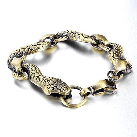 BodyJ4You Bracelet Vintage Snake Men's Link Goldtone tone Wrist Biker - BodyJ4you
