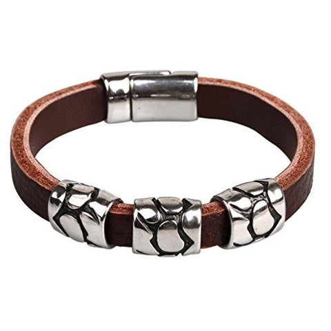 BodyJ4You Brown Leather Mens Bracelet Stainless Steel Charm and Gem Clasp - BodyJ4you