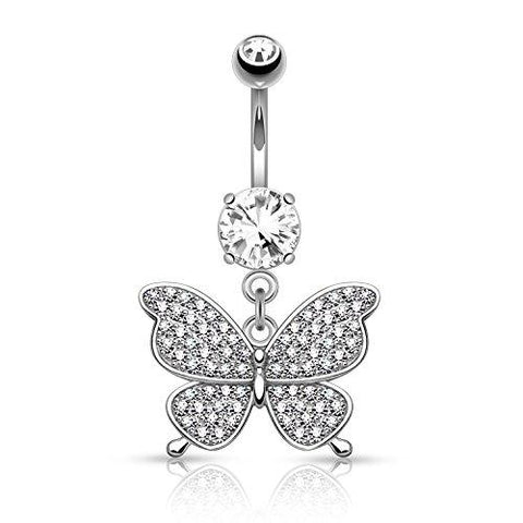 BodyJ4You Butterfly Belly Button Rings Dangle Heart Fancy Navel Ring - BodyJ4you