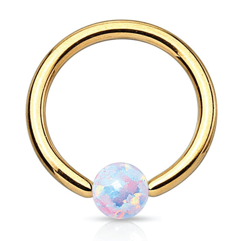 BodyJ4You Captive Ring Bead Goldtone Opal Septum Lip Eyebrow Ear Body Piercing Jewerlry 16G - BodyJ4you