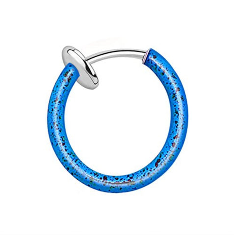 BodyJ4You Cartilage Hoop Non Piercing Spring Action Aqua Blue Splatter - BodyJ4you
