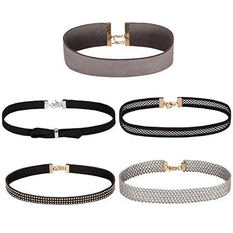 BodyJ4You Choker Necklace Black Brown Grey Ribbon Adjustable Collar 5 Pieces - BodyJ4you